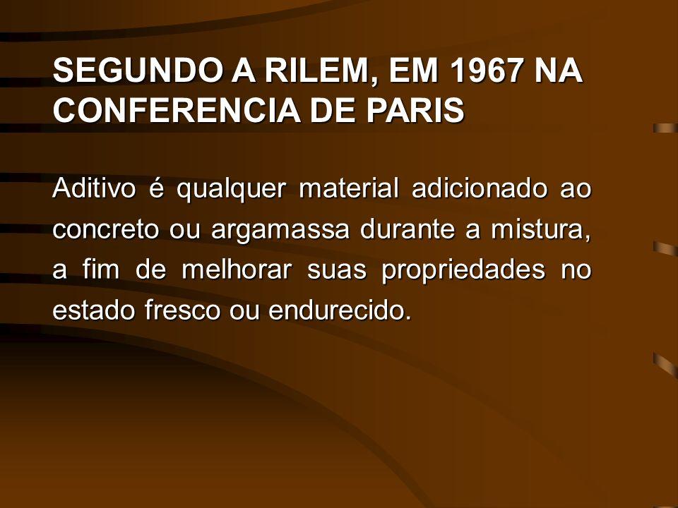 SEGUNDO A RILEM, EM 1967 NA CONFERENCIA DE PARIS