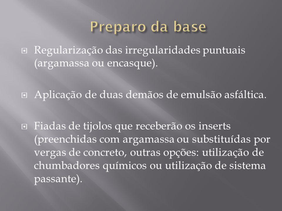 Preparo da baseRegularização das irregularidades puntuais (argamassa ou encasque). Aplicação de duas demãos de emulsão asfáltica.