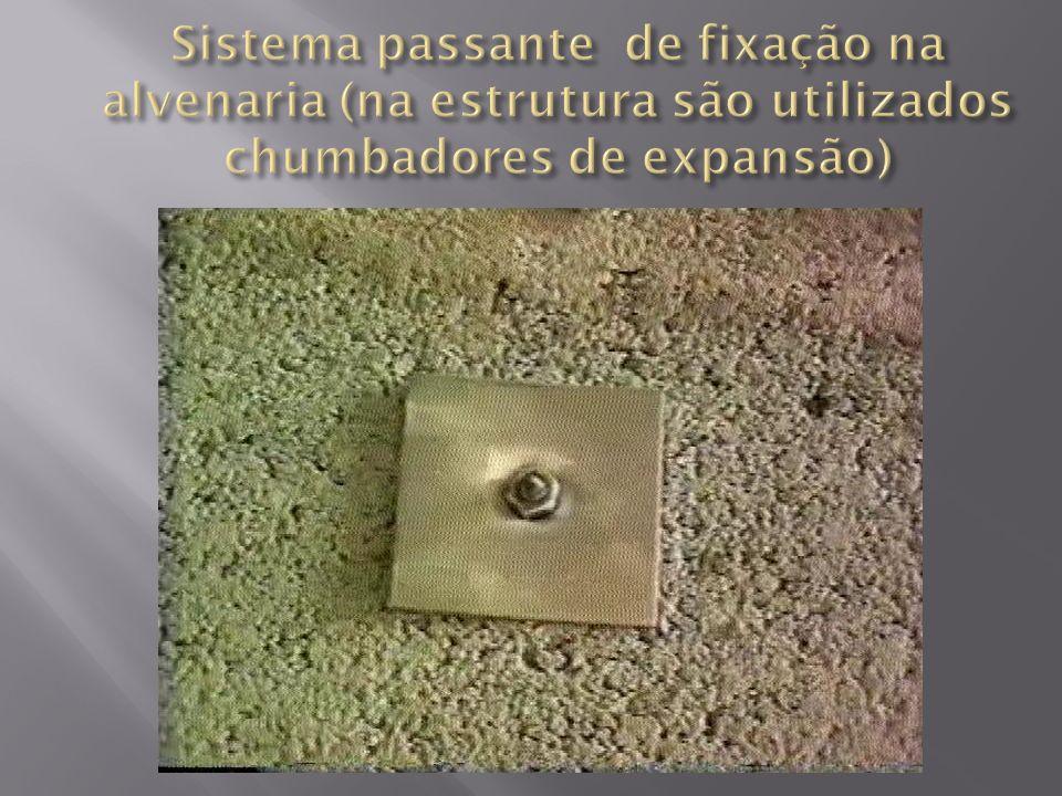 Sistema passante de fixação na alvenaria (na estrutura são utilizados chumbadores de expansão)