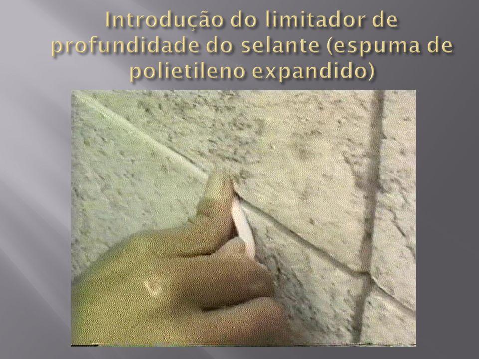 Introdução do limitador de profundidade do selante (espuma de polietileno expandido)