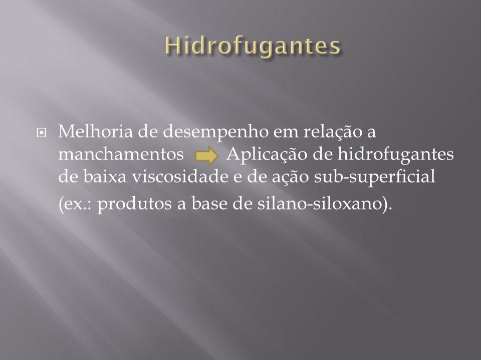 HidrofugantesMelhoria de desempenho em relação a manchamentos Aplicação de hidrofugantes de baixa viscosidade e de ação sub-superficial.