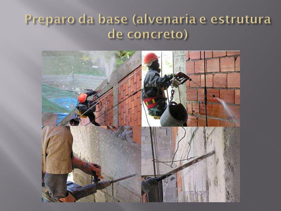 Preparo da base (alvenaria e estrutura de concreto)