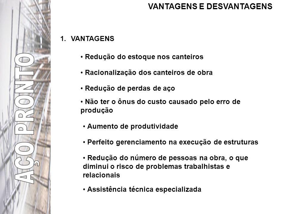 AÇO PRONTO VANTAGENS E DESVANTAGENS VANTAGENS