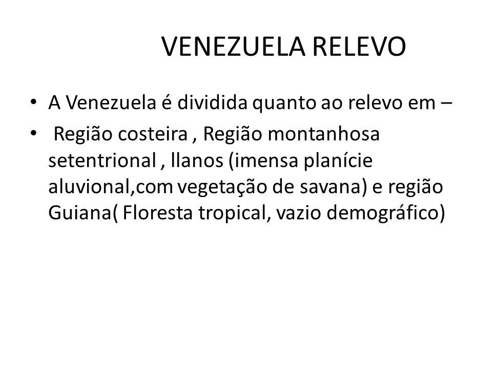 VENEZUELA RELEVO A Venezuela é dividida quanto ao relevo em –