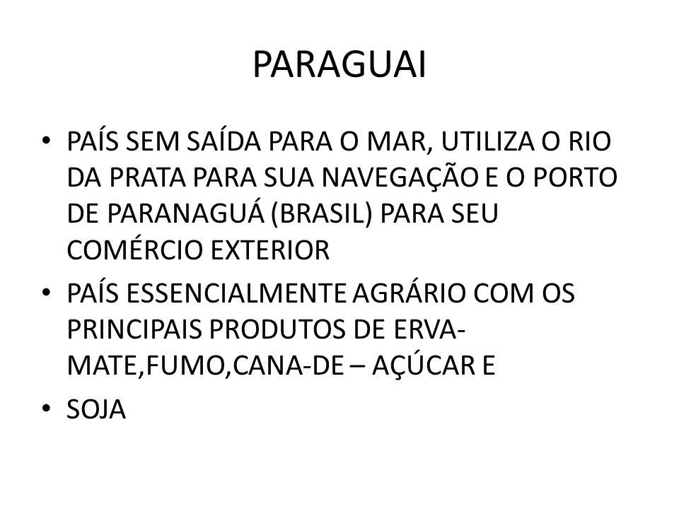PARAGUAI PAÍS SEM SAÍDA PARA O MAR, UTILIZA O RIO DA PRATA PARA SUA NAVEGAÇÃO E O PORTO DE PARANAGUÁ (BRASIL) PARA SEU COMÉRCIO EXTERIOR.