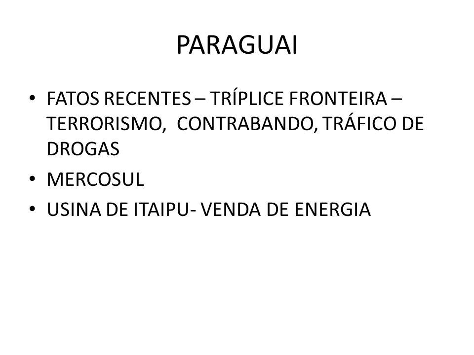 PARAGUAI FATOS RECENTES – TRÍPLICE FRONTEIRA – TERRORISMO, CONTRABANDO, TRÁFICO DE DROGAS. MERCOSUL.