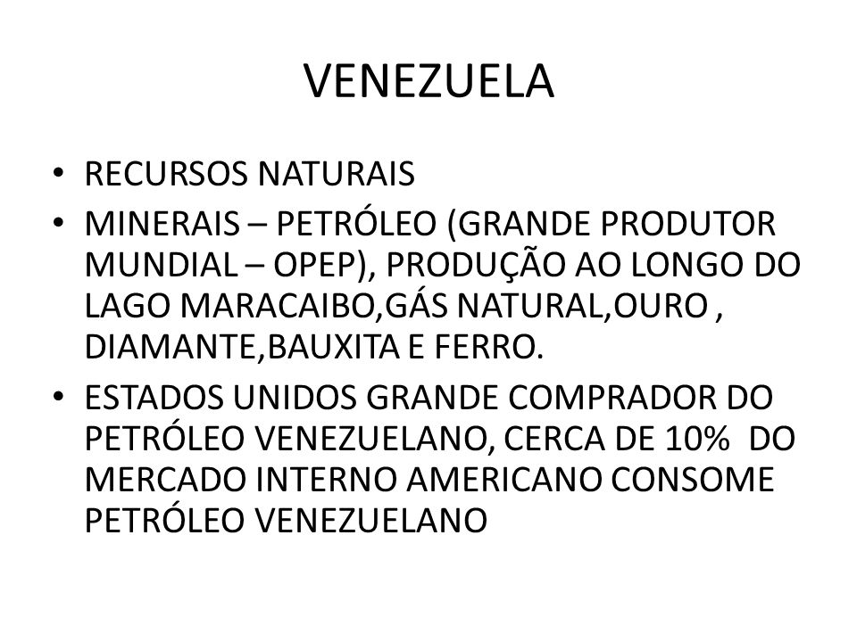 VENEZUELA RECURSOS NATURAIS