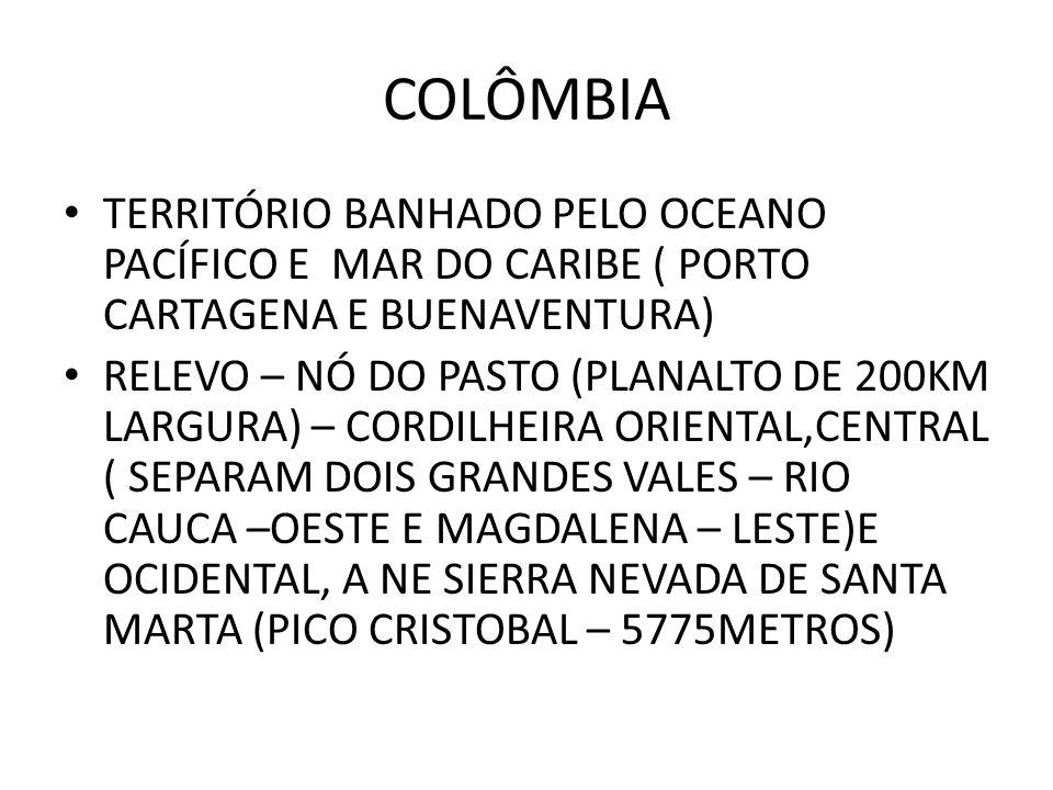 COLÔMBIA TERRITÓRIO BANHADO PELO OCEANO PACÍFICO E MAR DO CARIBE ( PORTO CARTAGENA E BUENAVENTURA)