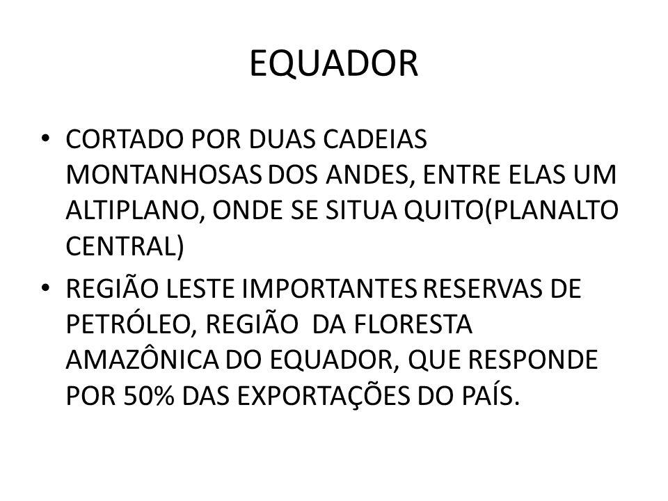EQUADOR CORTADO POR DUAS CADEIAS MONTANHOSAS DOS ANDES, ENTRE ELAS UM ALTIPLANO, ONDE SE SITUA QUITO(PLANALTO CENTRAL)