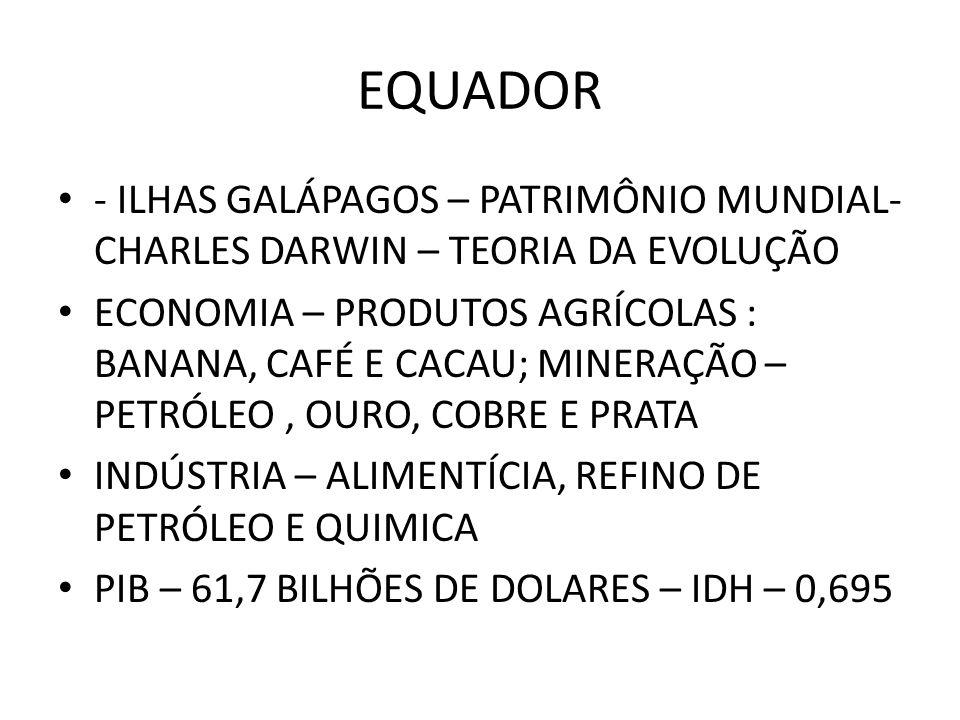 EQUADOR - ILHAS GALÁPAGOS – PATRIMÔNIO MUNDIAL- CHARLES DARWIN – TEORIA DA EVOLUÇÃO.