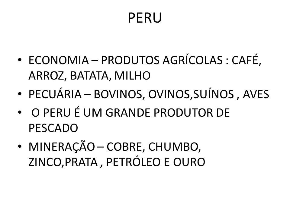 PERU ECONOMIA – PRODUTOS AGRÍCOLAS : CAFÉ, ARROZ, BATATA, MILHO
