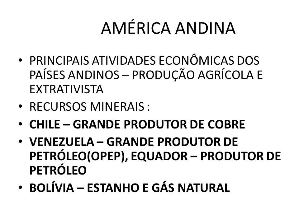 AMÉRICA ANDINA PRINCIPAIS ATIVIDADES ECONÔMICAS DOS PAÍSES ANDINOS – PRODUÇÃO AGRÍCOLA E EXTRATIVISTA.