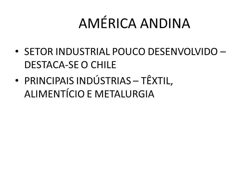 AMÉRICA ANDINA SETOR INDUSTRIAL POUCO DESENVOLVIDO – DESTACA-SE O CHILE.