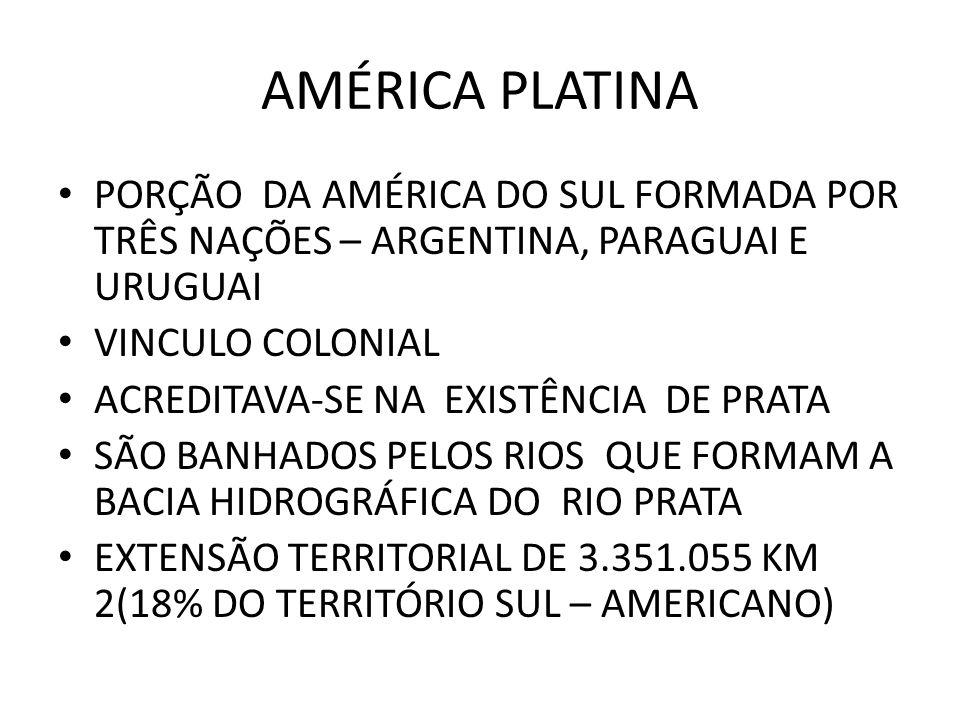 AMÉRICA PLATINA PORÇÃO DA AMÉRICA DO SUL FORMADA POR TRÊS NAÇÕES – ARGENTINA, PARAGUAI E URUGUAI.