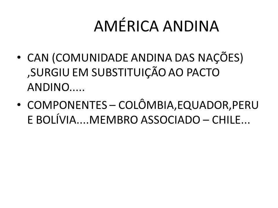 AMÉRICA ANDINA CAN (COMUNIDADE ANDINA DAS NAÇÕES) ,SURGIU EM SUBSTITUIÇÃO AO PACTO ANDINO.....
