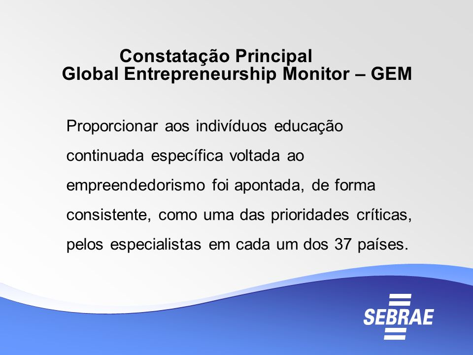 Constatação Principal Global Entrepreneurship Monitor – GEM