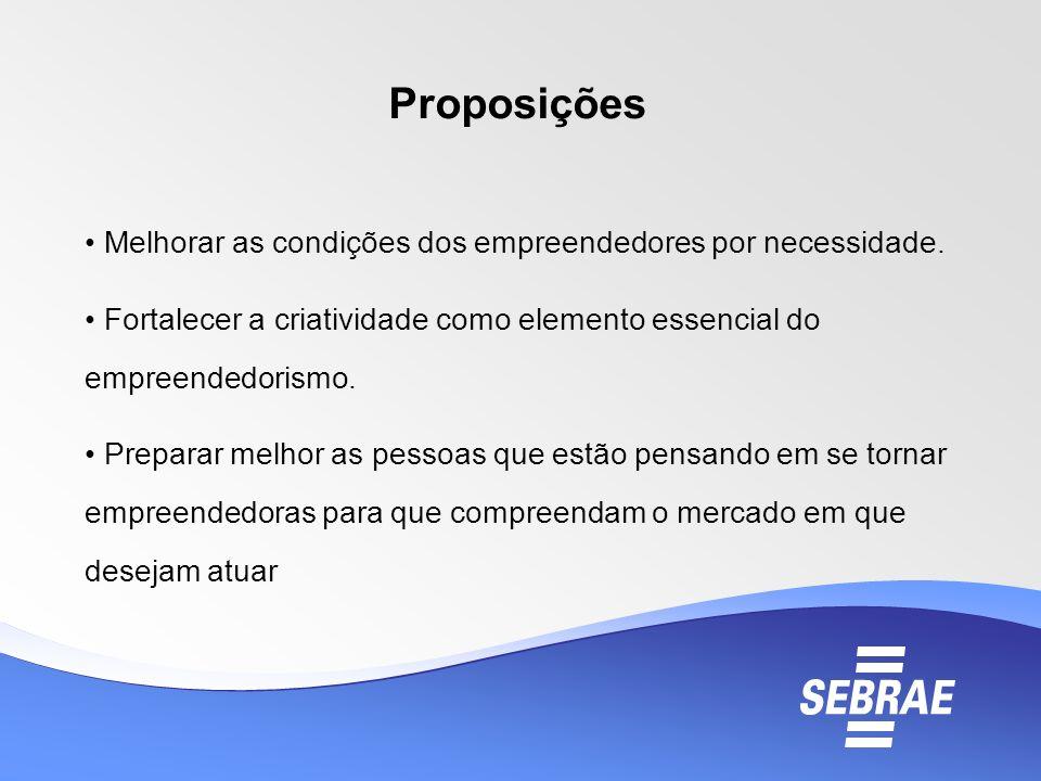 Proposições Melhorar as condições dos empreendedores por necessidade.
