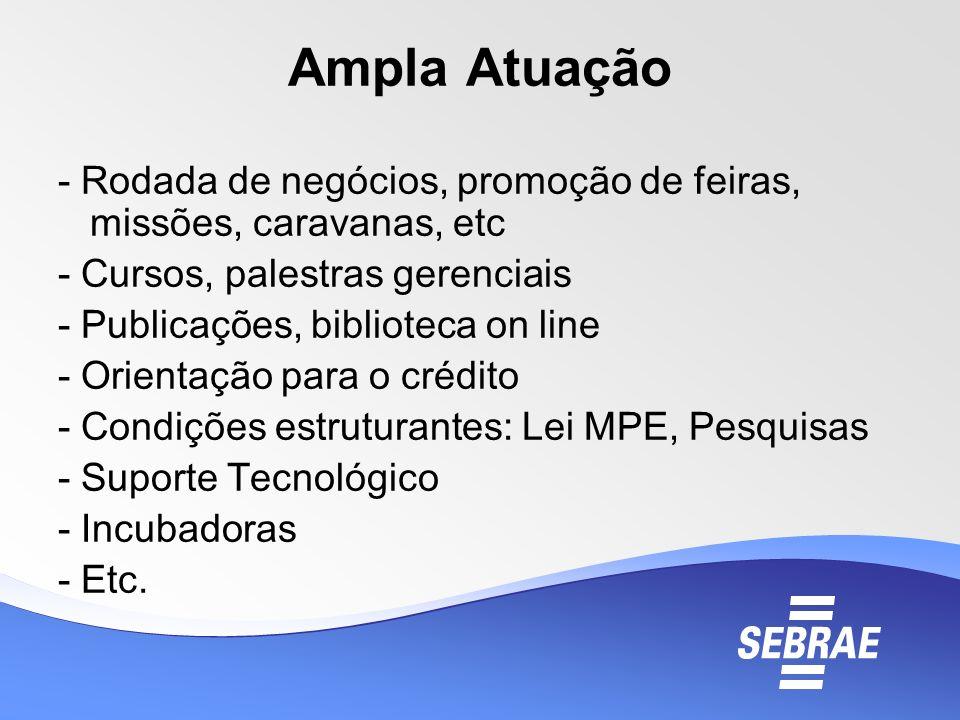 Ampla Atuação - Rodada de negócios, promoção de feiras, missões, caravanas, etc. - Cursos, palestras gerenciais.