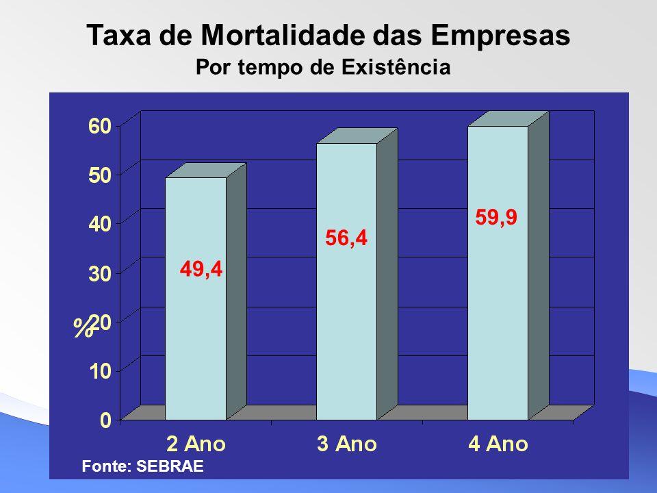 Taxa de Mortalidade das Empresas Por tempo de Existência