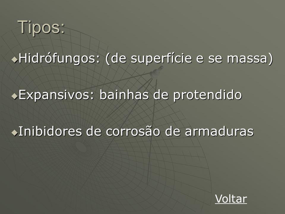 Tipos: Hidrófungos: (de superfície e se massa)