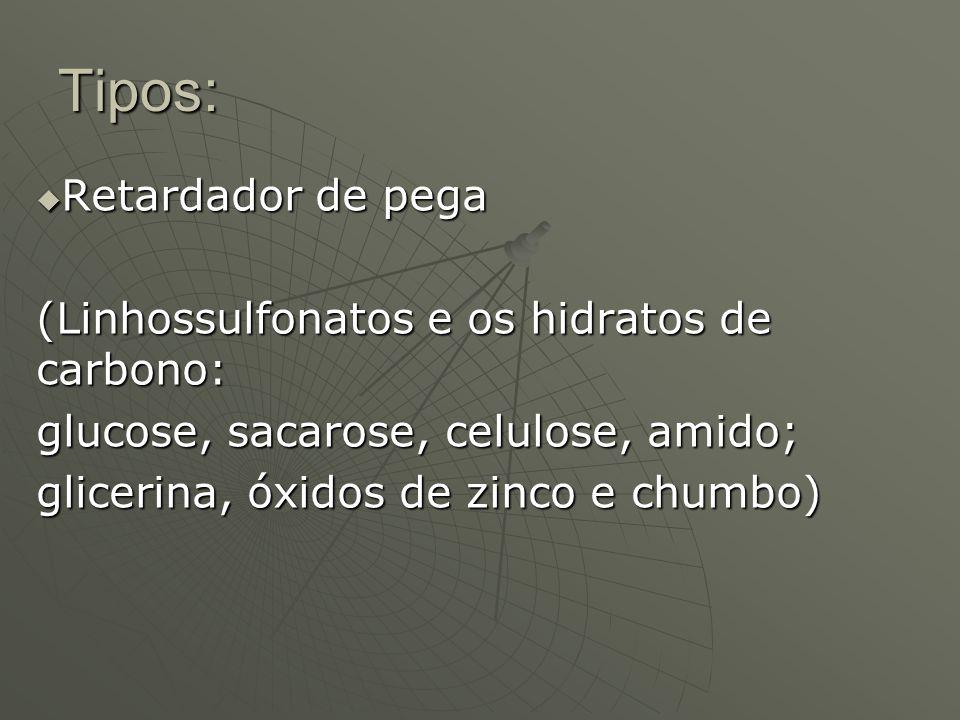 Tipos: Retardador de pega (Linhossulfonatos e os hidratos de carbono: