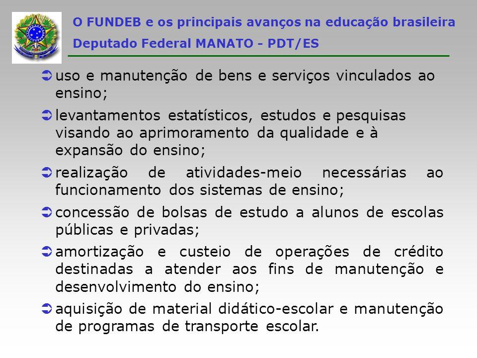 uso e manutenção de bens e serviços vinculados ao ensino;