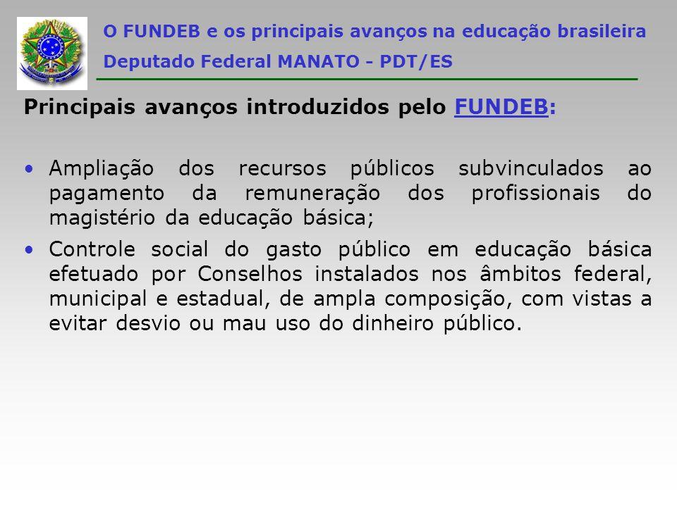 Principais avanços introduzidos pelo FUNDEB: