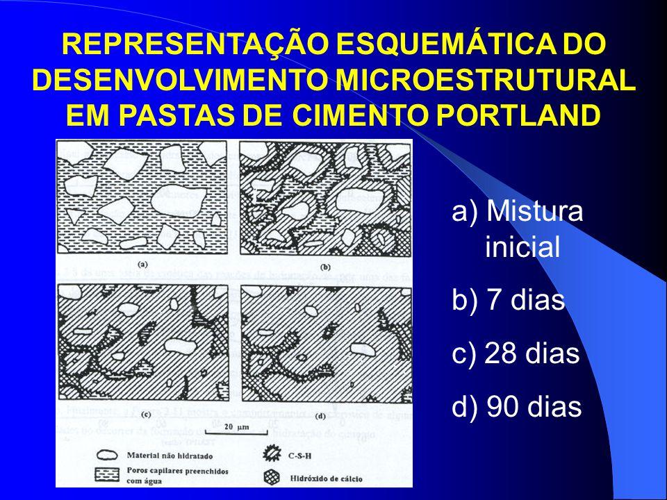 REPRESENTAÇÃO ESQUEMÁTICA DO DESENVOLVIMENTO MICROESTRUTURAL EM PASTAS DE CIMENTO PORTLAND