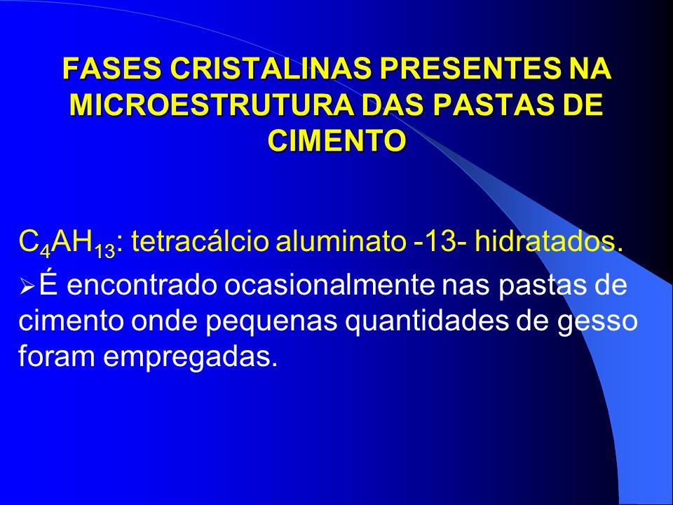 FASES CRISTALINAS PRESENTES NA MICROESTRUTURA DAS PASTAS DE CIMENTO