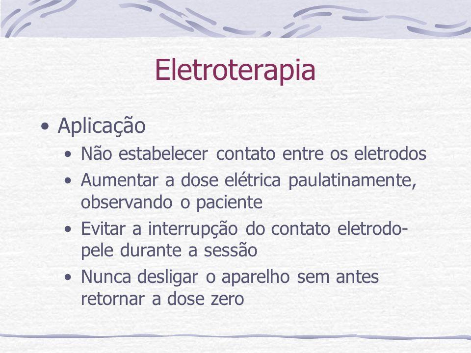 Eletroterapia Aplicação Não estabelecer contato entre os eletrodos