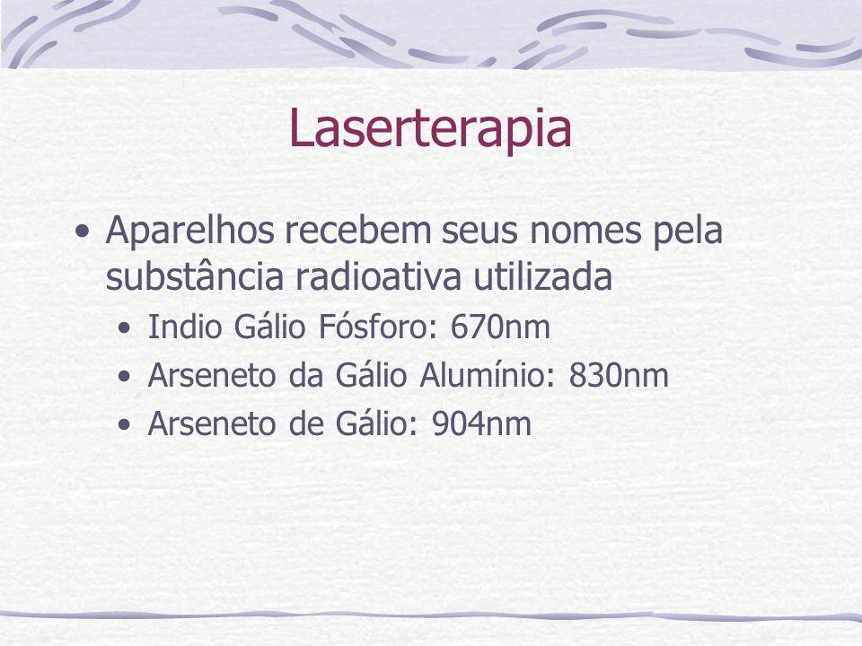 Laserterapia Aparelhos recebem seus nomes pela substância radioativa utilizada. Indio Gálio Fósforo: 670nm.