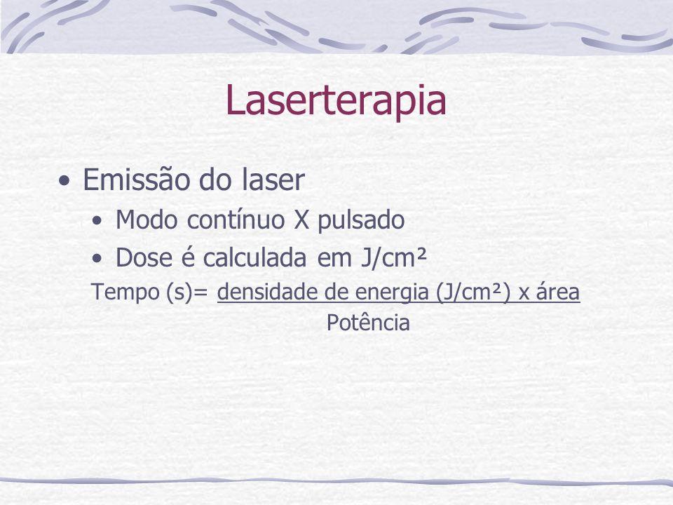 Laserterapia Emissão do laser Modo contínuo X pulsado