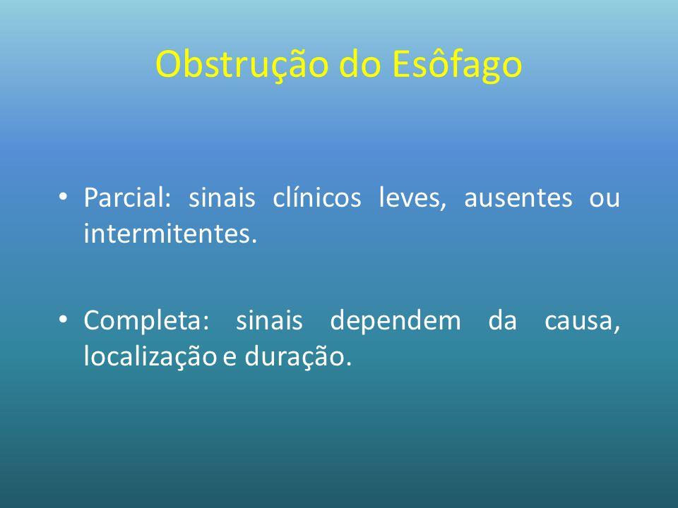 Obstrução do Esôfago Parcial: sinais clínicos leves, ausentes ou intermitentes.
