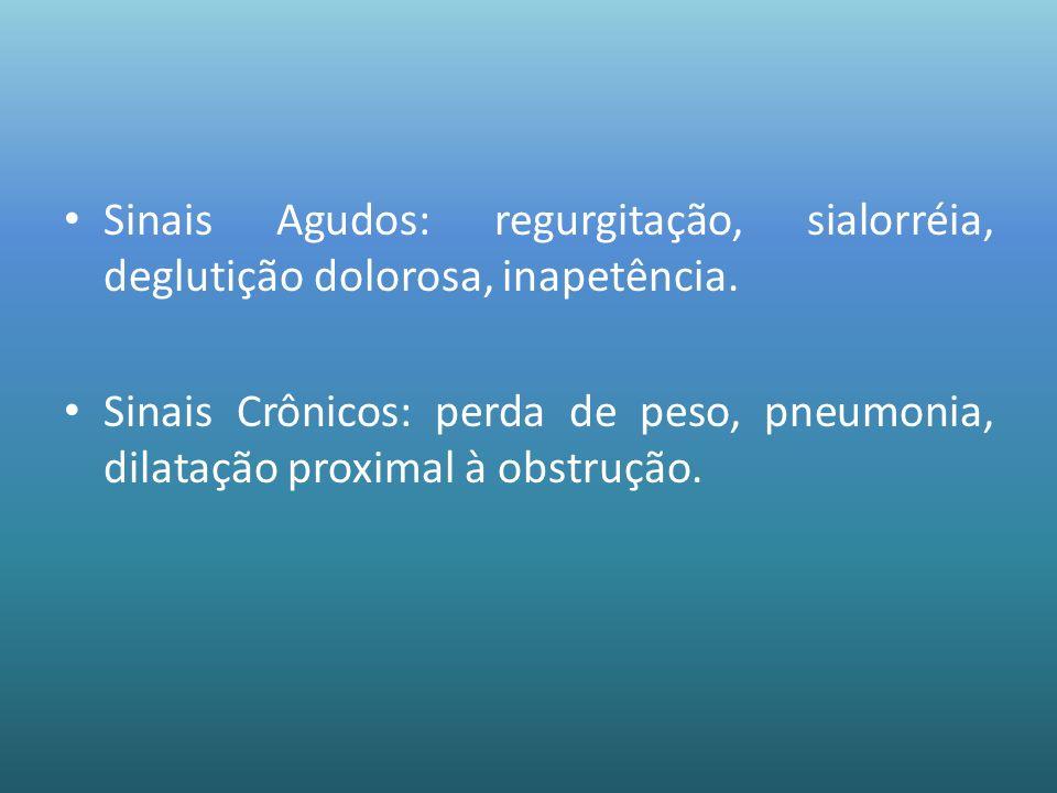 Sinais Agudos: regurgitação, sialorréia, deglutição dolorosa, inapetência.