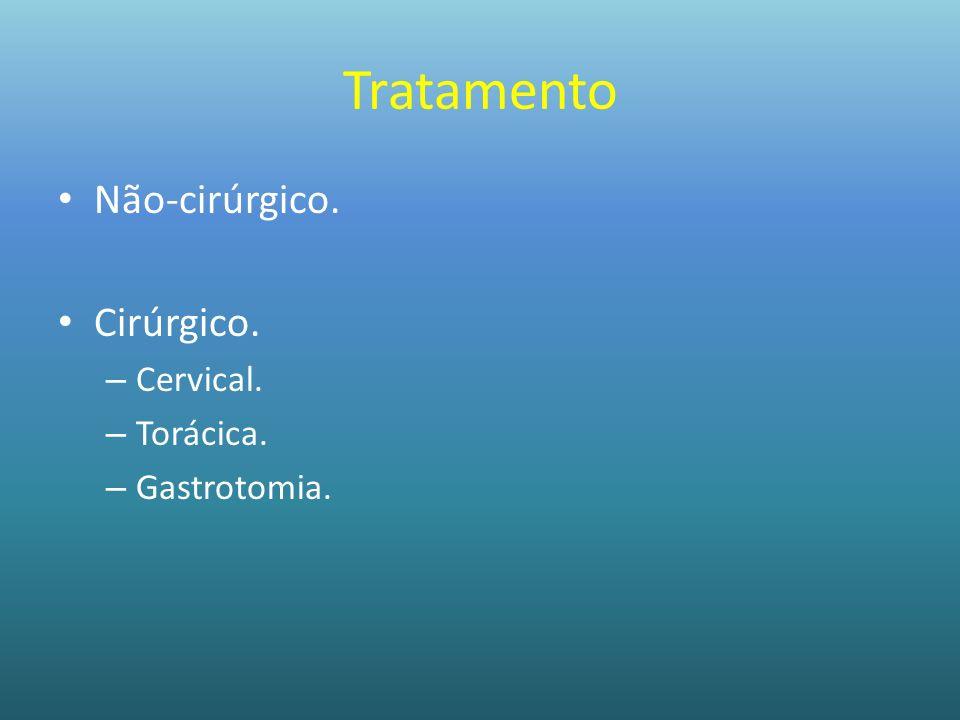 Tratamento Não-cirúrgico. Cirúrgico. Cervical. Torácica. Gastrotomia.