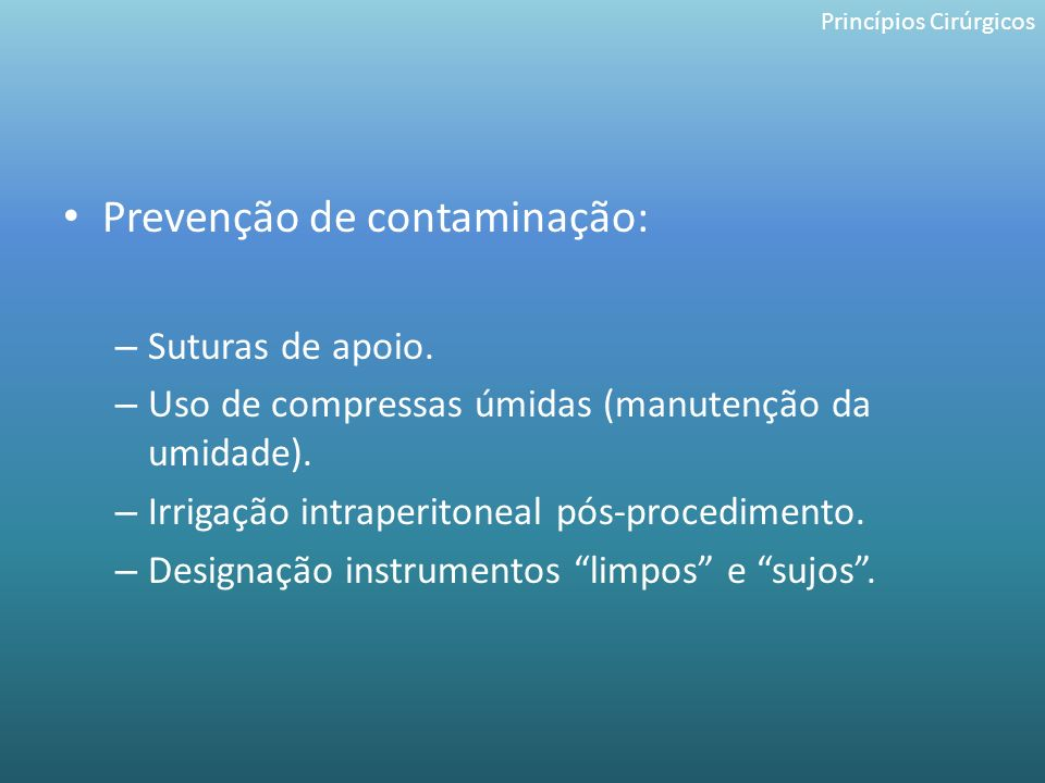 Prevenção de contaminação:
