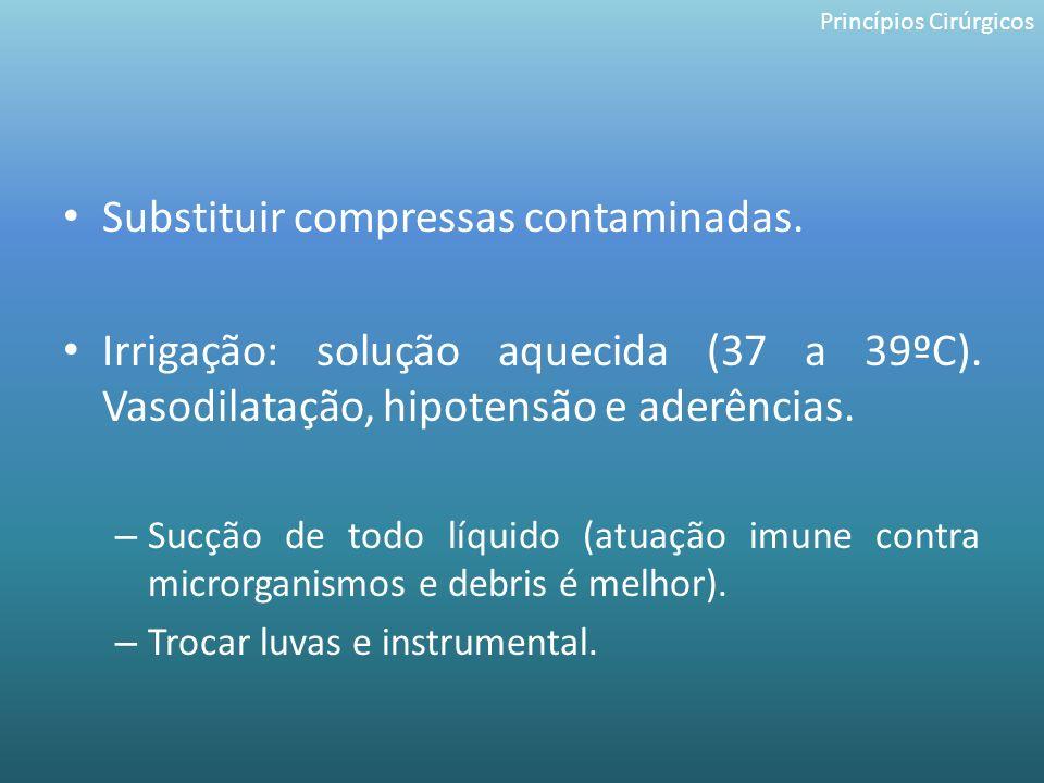 Substituir compressas contaminadas.