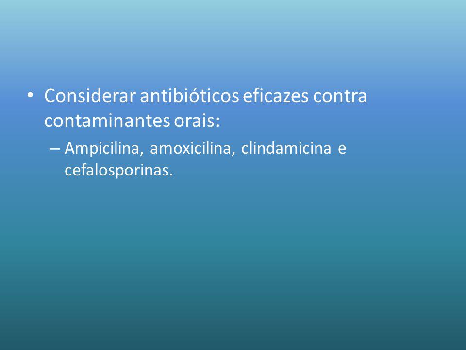 Considerar antibióticos eficazes contra contaminantes orais: