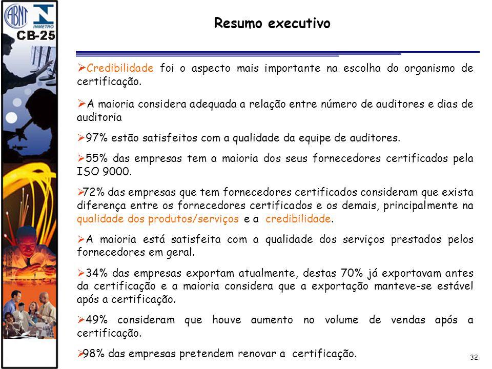 Resumo executivo Credibilidade foi o aspecto mais importante na escolha do organismo de certificação.