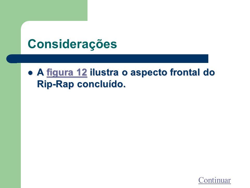 Considerações A figura 12 ilustra o aspecto frontal do Rip-Rap concluído. Continuar