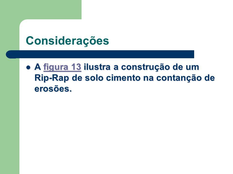 Considerações A figura 13 ilustra a construção de um Rip-Rap de solo cimento na contanção de erosões.
