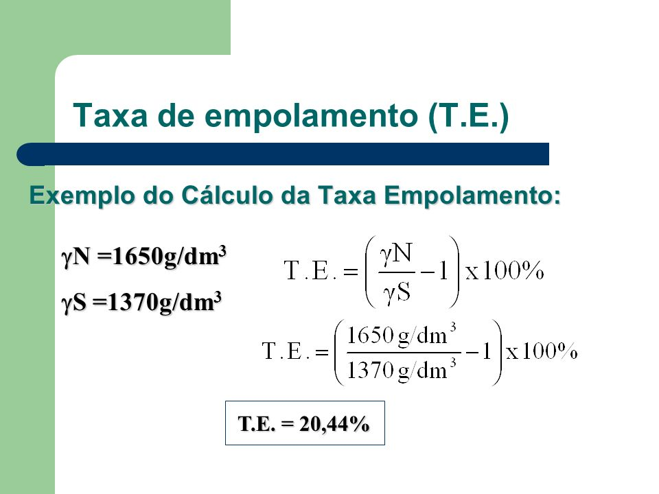 Taxa de empolamento (T.E.)