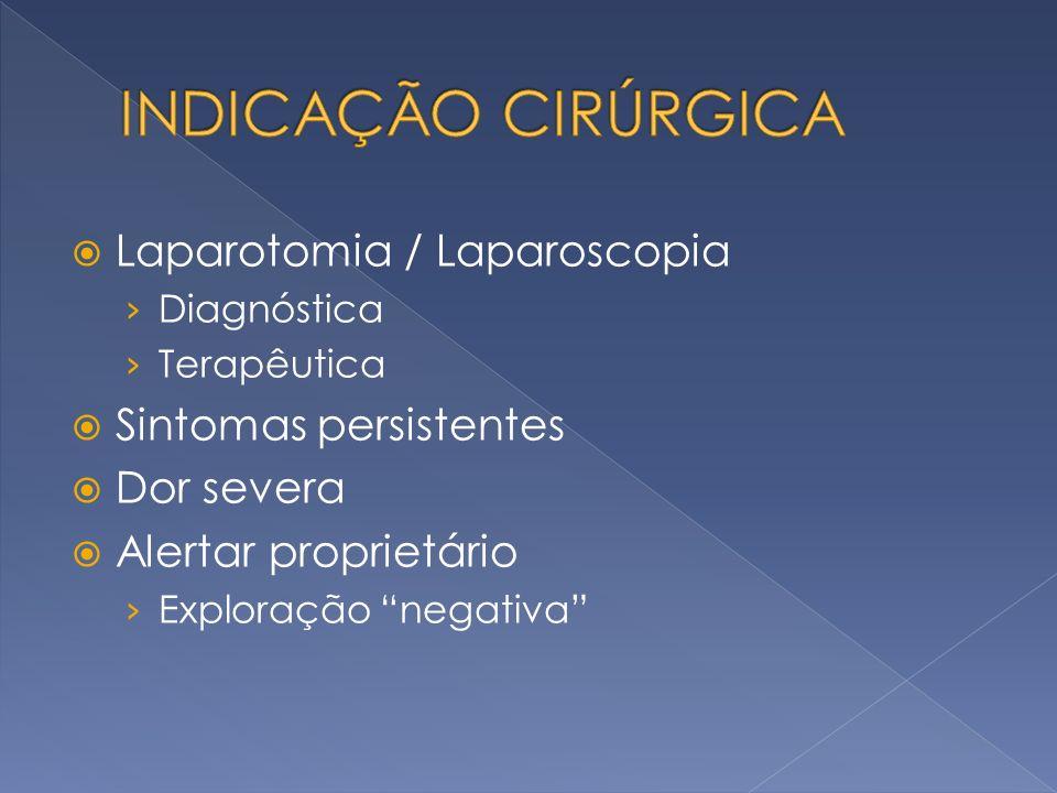 INDICAÇÃO CIRÚRGICA Laparotomia / Laparoscopia Sintomas persistentes