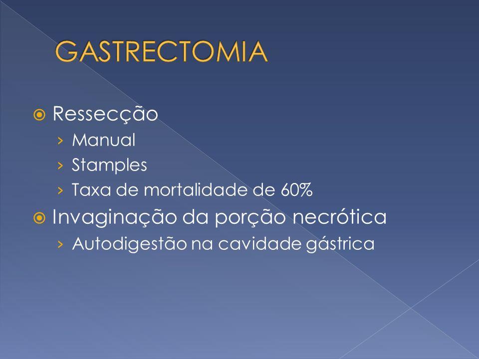 GASTRECTOMIA Ressecção Invaginação da porção necrótica Manual Stamples