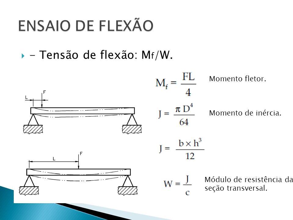 ENSAIO DE FLEXÃO - Tensão de flexão: Mf/W. Momento fletor.