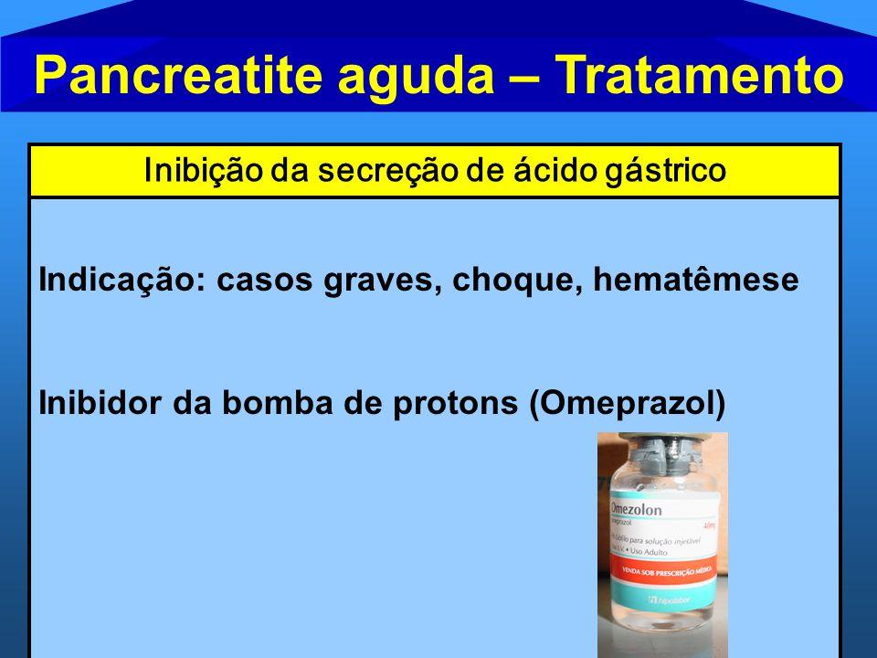 Pancreatite aguda – Tratamento Inibição da secreção de ácido gástrico