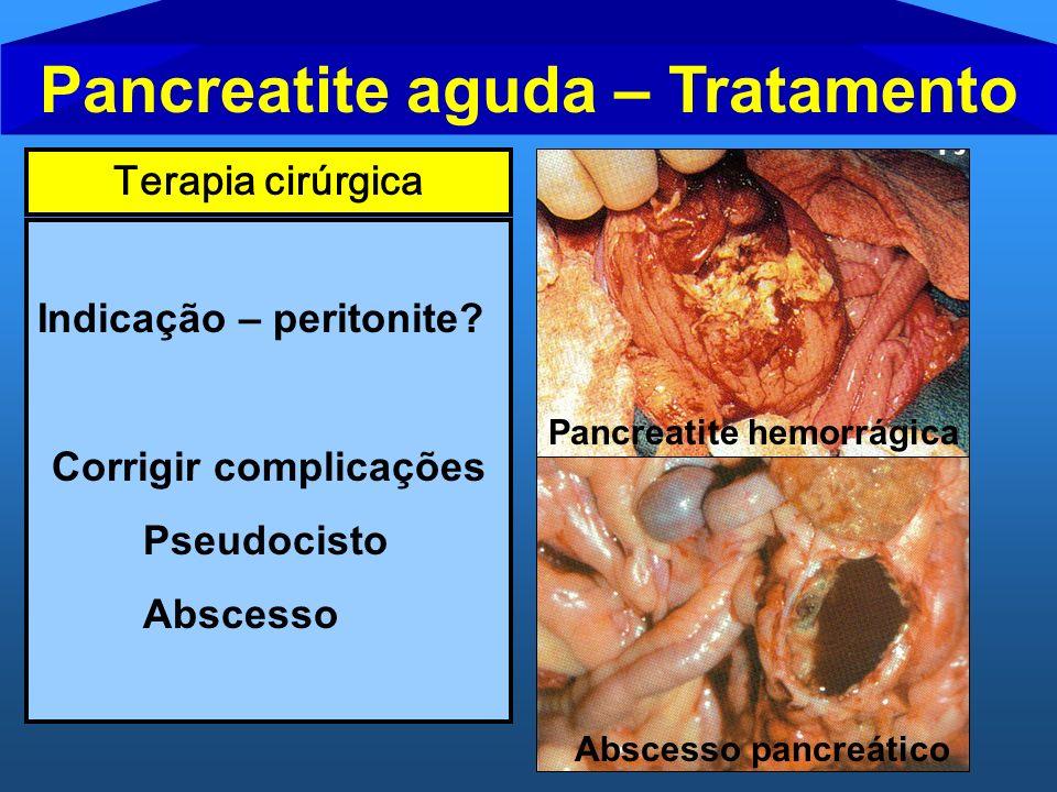 Pancreatite aguda – Tratamento Corrigir complicações