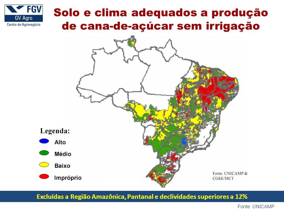 Excluídas a Região Amazônica, Pantanal e declividades superiores a 12%