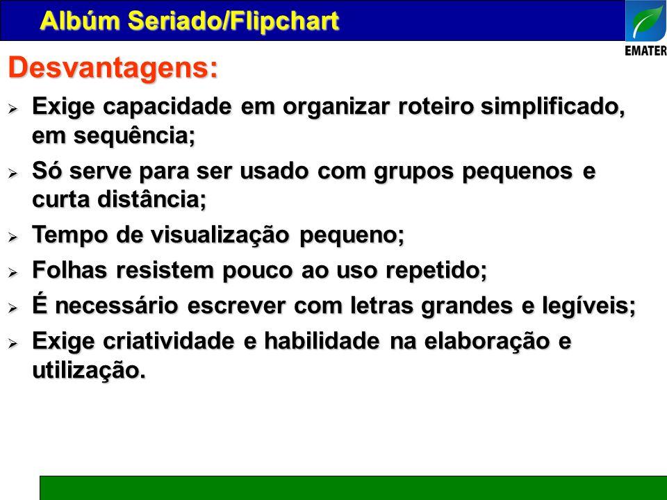 Desvantagens: Albúm Seriado/Flipchart