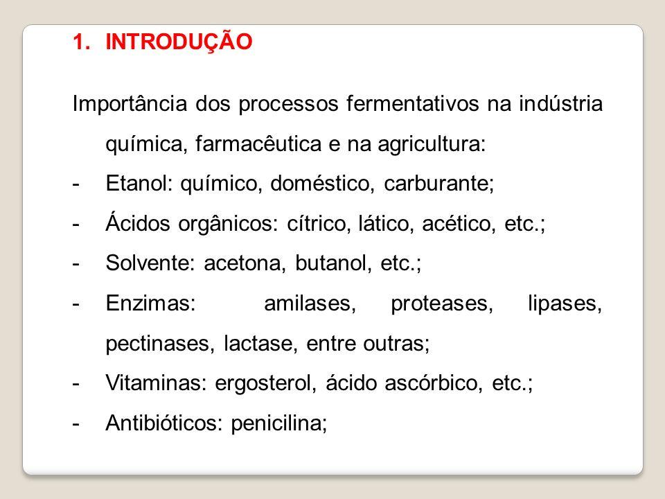 INTRODUÇÃO Importância dos processos fermentativos na indústria química, farmacêutica e na agricultura: